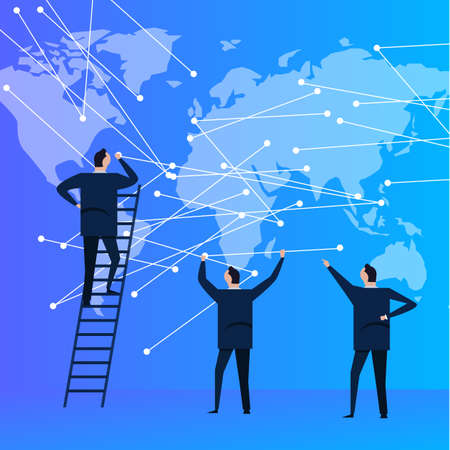 business people team with world map connecting the dot for global communication. modern corporation company. vector