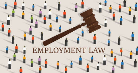 employment law labor legislation a gavel and people cowd. concept of legal education. vector