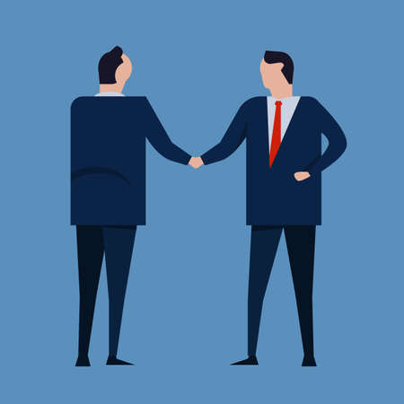 Contract agreement. Business people standing handshake wearing suite formal. Concept business vector illustration Ilustrace