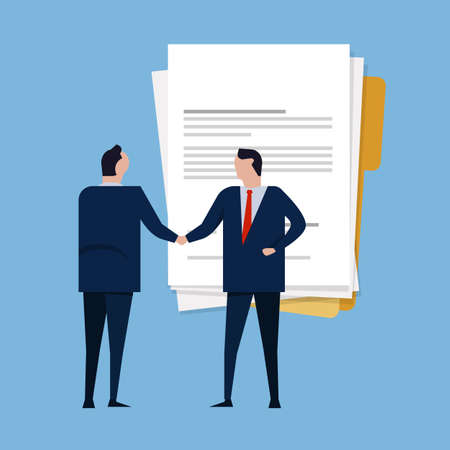 Contract paper document agreement. Business people standing handshake wearing suite formal. Concept business vector illustration Ilustração