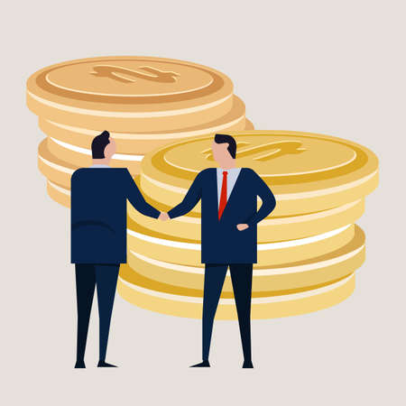 Business investment agreement standing handshake wearing suite formal. Bring money cash coin. Concept business vector Ilustrace