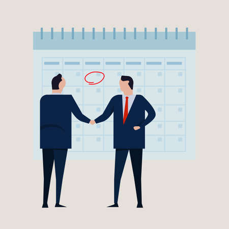 Time calendar comitment target project. Business people agreement standing handshake wearing suite formal. Concept business vector