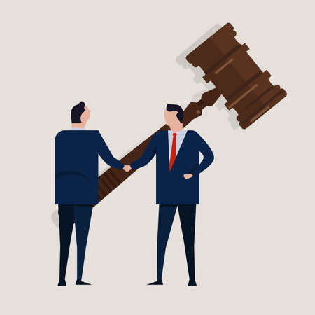 Business law legal contract people agreement standing handshake wearing suite formal with big gavel settlement court. Concept vector