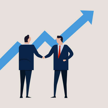 Growth chart going up. increase value investment. Business people agreement standing handshake wearing suite formal. Concept business vector Ilustração