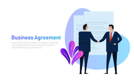 Business people agreement standing handshake wearing suite formal. Concept business vector banner style
