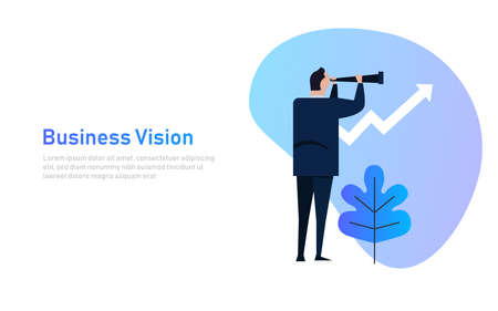 Vision and Growth concept. Businessman looks through a telescope on growth arrow. Business concept cartoon illustration banner Ilustrace