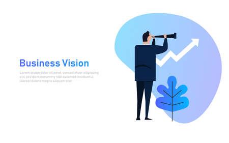 Vision and Growth concept. Businessman looks through a telescope on growth arrow. Business concept cartoon illustration banner Ilustração