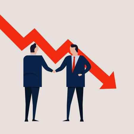 Recession Fail Crisis Crash Depression Frustration Concept. Business people agreement standing handshake chart going down vector Ilustração