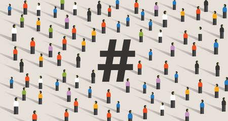 hashtag icon large group of people cooperating. Flat style vector illustration isolated on white background vector. Ilustração