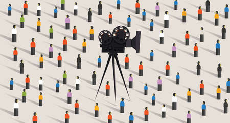 Video camera online social vector illustration isolated. crowd people community together on internet