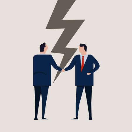businessmen broken contract relationship partnership failure cracked disagreement. businessman handshake. vector concept