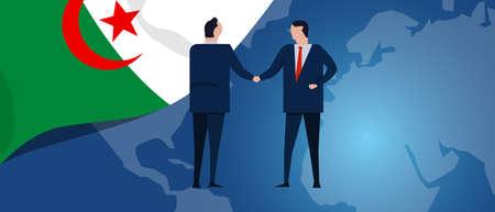 Algeria international partnership. Diplomacy negotiation. Business relationship agreement handshake. Country flag and map. Corporate Global business investment. Vector Ilustração