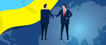 Ukraine international partnership. Diplomacy negotiation. Business relationship agreement handshake. Country flag and map. Corporate Global business investment. Vector Ilustração