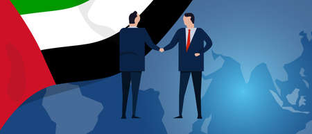 UAE United Arab Emirates international partnership. Diplomacy negotiation. Business relationship agreement handshake. Country flag and map. Corporate Global business investment. Vector