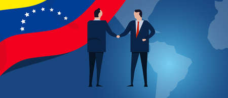 Venezuela international partnership. Diplomacy negotiation. Business relationship agreement handshake. Country flag and map. Corporate Global business investment. Vector