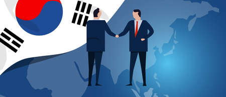 South Korea international partnership. Diplomacy negotiation. Business relationship agreement handshake. Country flag and map. Corporate Global business investment. Vector