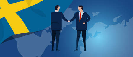 Sweden Swedish international partnership. Diplomacy negotiation. Business relationship agreement handshake. Country flag and map. Corporate Global business investment. Vector