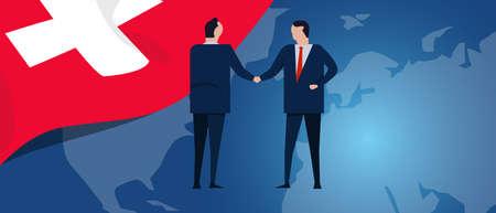 Switzerland Swiss international partnership. Diplomacy negotiation. Business relationship agreement handshake. Country flag and map. Corporate Global business investment. Vector Ilustração