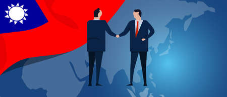 Taiwan Taiwanese Republic of China international partnership. Diplomacy negotiation. Business relationship agreement handshake. Country flag and map. Corporate Global business investment. Vector