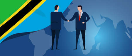Tanzania international partnership. Diplomacy negotiation. Business relationship agreement handshake. Country flag and map. Corporate Global business investment. Vector