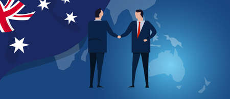 Australia international partnership. Diplomacy negotiation. Business relationship agreement handshake. Country flag and map. Corporate Global business investment. Vector