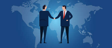 Global international partnership. Diplomacy negotiation. Business relationship agreement handshake. Country flag and map. Corporate world wide business investment.