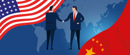 USA and China reach out their hands maing deals handshake international agreement cooperation ending trade war. vector