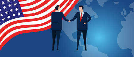 US United States of America international partnership. Diplomacy negotiation. Business relationship agreement handshake. Country flag and map. Corporate Global business investment. Vector