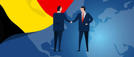 Belgium international partnership. Diplomacy negotiation. Business relationship agreement handshake. Country flag and map. Corporate Global business investment. Vector Ilustrace