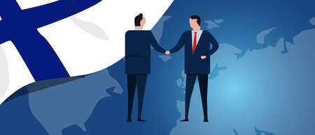 Finland international partnership. Diplomacy negotiation. Business relationship agreement handshake. Country flag and map. Corporate Global business investment. Vector