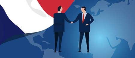 France international partnership. Diplomacy negotiation. Business relationship agreement handshake. Country flag and map. Corporate Global business investment. Vector Ilustração