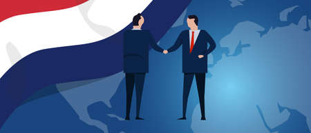 Netherlands international partnership. Diplomacy negotiation. Business relationship agreement handshake. Country flag and map. Corporate Global business investment. Vector