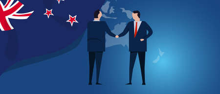 New Zealand international partnership. Diplomacy negotiation. Business relationship agreement handshake. Country flag and map. Corporate Global business investment. Vector Ilustrace