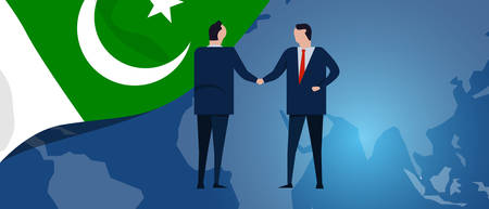 Pakistan international partnership. Diplomacy negotiation. Business relationship agreement handshake. Country flag and map. Corporate Global business investment. Vector