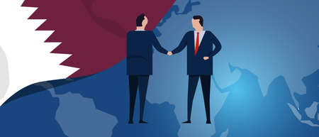 Qatar international partnership. Diplomacy negotiation. Business relationship agreement handshake. Country flag and map. Corporate Global business investment. Vector