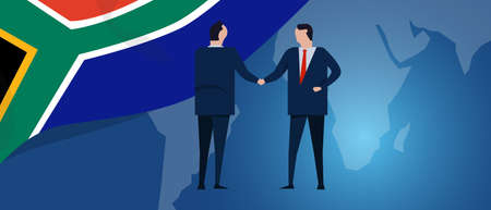 South Africa international partnership. Diplomacy negotiation. Business relationship agreement handshake. Country flag and map. Corporate Global business investment. Vector