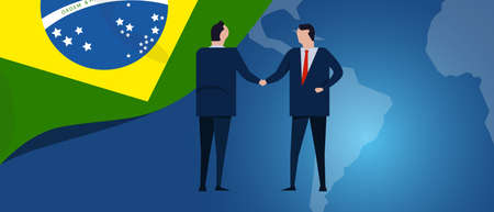 Brazil international partnership. Diplomacy negotiation. Business relationship agreement handshake. Country flag and map. Corporate Global business investment. Vector Ilustrace