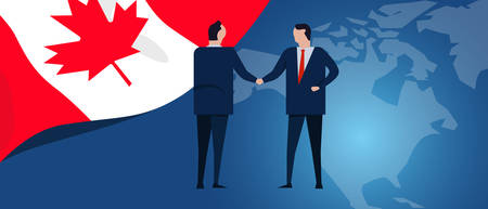Canada international partnership. Diplomacy negotiation. Business relationship agreement handshake. Country flag and map. Corporate Global business investment. Vector