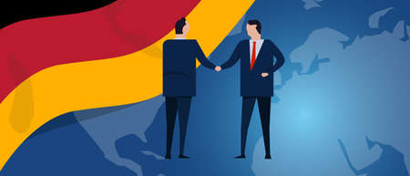Germany international partnership. Diplomacy negotiation. Business relationship agreement handshake. Country flag and map. Corporate Global business investment. Vector