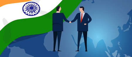 India international partnership. Diplomacy negotiation. Business relationship agreement handshake. Country flag and map. Corporate Global business investment. Vector