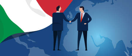 Italy international partnership. Diplomacy negotiation. Business relationship agreement handshake. Country flag and map. Corporate Global business investment. Vector
