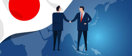 Japan international partnership. Diplomacy negotiation. Business relationship agreement handshake. Country flag and map. Corporate Global business investment. Vector