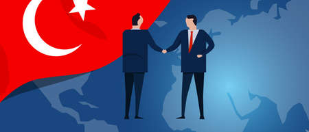 Turkey international partnership. Diplomacy negotiation. Business relationship agreement handshake. Country flag and map. Corporate Global business investment. Vector
