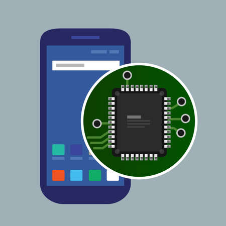 Internal phone device circuit board, a microprocessor, a variety of chips and other electronic components. illustrate repair of mobile devices. Vector Ilustração