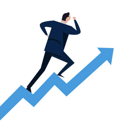 Businessman running on steps growth chart going up. Concept of career success climbing on stairs in vector