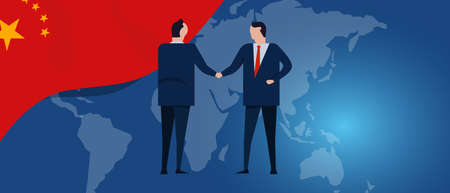 China international partnership. Diplomacy negotiation. Business relationship agreement handshake. Country flag and map. Corporate Global business investment. Vector