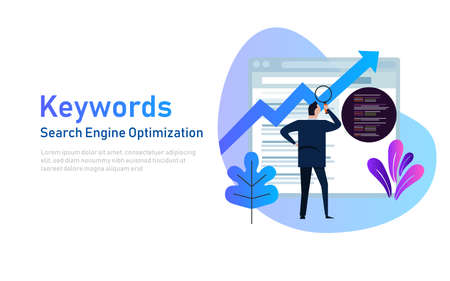 Keywording, SEO keyword research, keywords ranking optimization on search engine. Flat vector illustration of people looking at data and coding in website.