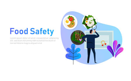 Food safety concept of standard compliance. Man looking at food certification paper document. Vector Illustration
