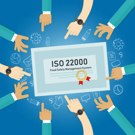 ISO 22000 - food safety management, concept of standard compliance certificate. Vector