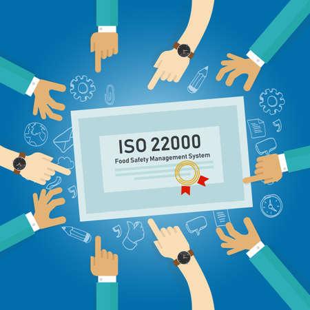 ISO 22000 - Gestione della sicurezza alimentare, concetto di certificato di conformità agli standard. Vettore